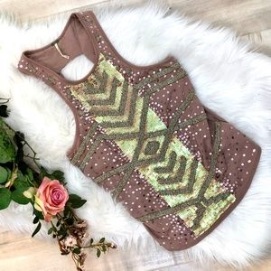 Free People Sequin/Beaded Rose Pink Tank Top XS
